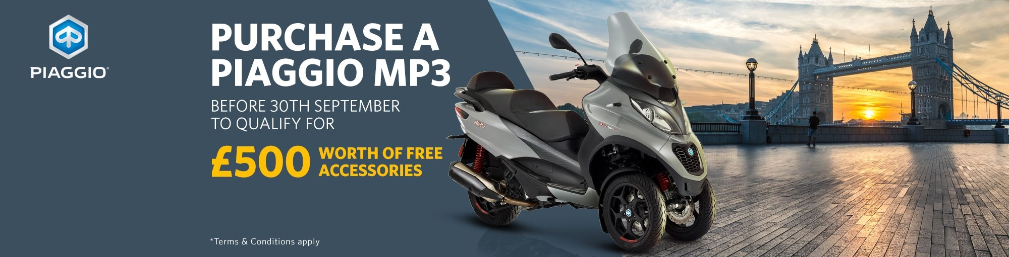Buy a new Piaggio MP3 and get £500 worth of free accessories